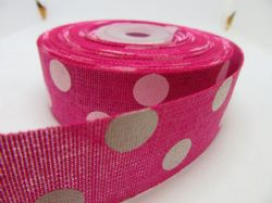 2 metres or Full Roll 25mm 38mm Fuchsia Pink  Vintage Hessian Large Polka Dot Ribbon 25 38 mm